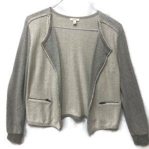 Caslon Gray Open Front Herringbone Cardigan Jacket